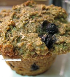 Over The Top Blueberry Bran-Oat Muffins. Loaded with good taste - you wouldn't suspect these are Green Light & Low G.I.  From The G.I. Diet by Rick Gallop