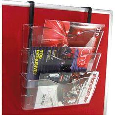 Soporte expositor de 3 compartimentos Din A4. Ideal para manparas y separadoes. Incluye soportes.