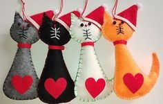 GREY-SANTA-CAT-felt-Christmas-tree-decoration-LOVE-HEART-NEW