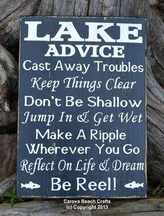 Lake House Decor - Lake Sign - Advice From A Lake - Lake Advice Gift Wood Wall Art - Lake Life Cottage Plaque Cabin Distressed Signs Rustic Carova Beach Crafts Lake Signs, Beach Signs, Surf, Lake Decor, Seaside Decor, Coastal Decor, Rustic Decor, Lake Beach, Lake Cabins
