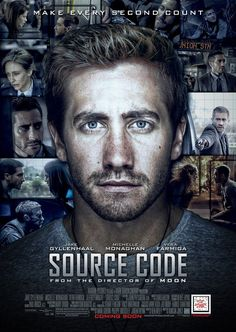 A Poster of the Duncan Jones' science fiction film Source Code, starring Jake Gyllenhaal, Michelle Monaghan, Vera Farmiga & Jeffrey Wright. Sci Fi Movies List, 2011 Movies, Good Movies To Watch, Movie List, Series Movies, Great Movies, Film Movie, Movies And Tv Shows, Imdb Movies