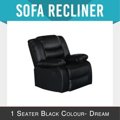 Recliner New Modern Bonded Leather Black Smart Ultra Cushioned Stylish Dream Bonded Leather, Leather Sofa, Reclining Sofa, Recliner, Melbourne, Mattress, Living Room, Stylish, Bed