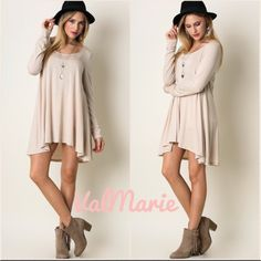 ❗️LAST ONE❗️Soft Knit Cappuccino Flowy Tunic Dress MADE IN USA This gorgeous light weight flowy tunic dress is a staple to your wardrobe and a must have! In a gorgeous light cappuccino color. Has a crew neck, flowy fit and long sleeves. So super soft! Made of 96% Rayon, 4% Spandex. Price is firm unless bundled. S (2-4) M (6-8) L (10-12) fits flighty big as it's supposed to for that casual flowy look. You may purchase this listing as I've created individual listing for each size. ValMarie…