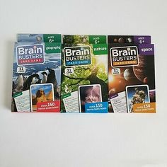 Lot 3 Brain Busters Educational Trivia Card Game NATURE,SPACE GEOGRAPHY   | eBay