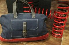 An artsy way to carry your luggage! Deep blue heavy canvas luggage bag with deep red leather base and brown leather straps. Size: 44cms x 56 cms Price : Rs 5000 For details of the products and to place an order, you can whatsapp on 9999968917, +34630292108 or email at veralikasingh@hotmail.com or maddy_rawat@hotmail.com.