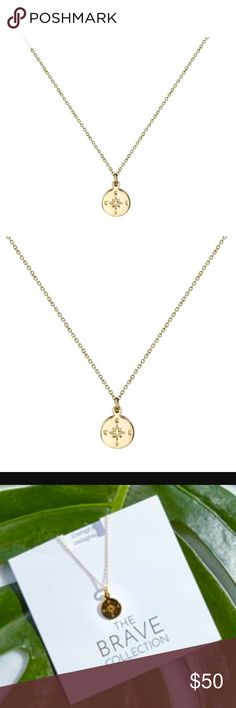 "The Brave Collection Compass Necklace From The Rachel Zoe Summer 2017 Box Of Style. The Brave  Collection Gold Compass Necklace: Brass with Micron Plated 14K Gold Plated. Necklace Measures 18"" Rachel Zoe Jewelry Necklaces"
