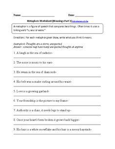 math worksheet : similes or metaphors worksheet part 1  worksheets : What Is A Metaphor Math Worksheet