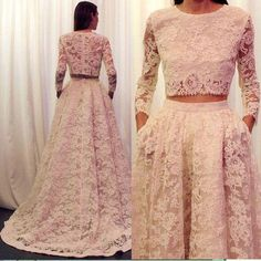 2 Pieces Long Sleeves Lace Wedding Dress with Pocket,Vintage Lace Bridal Gown,apd2107