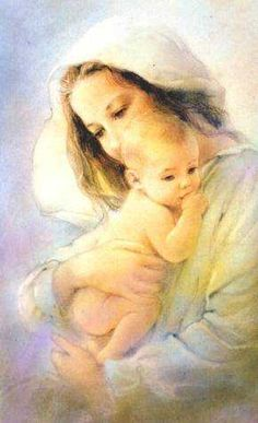 """""""Madonna with the child"""". Divine Mother, Blessed Mother Mary, Blessed Virgin Mary, Religious Pictures, Jesus Pictures, Catholic Art, Religious Art, Immaculée Conception, Mama Mary"""