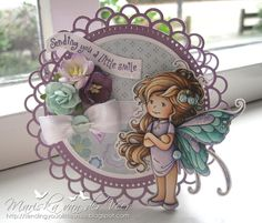 Card with Summer Fairy by Wee Stamps for Whimsy Stamps. The base of the card is also a die by Whimsy Stamps, the double scalloped doily die. Pretty Cards, Cute Cards, Merci Gif, Hobby House, Handmade Card Making, Magnolia Stamps, Whimsy Stamps, Shaped Cards, Scrapbook Cards