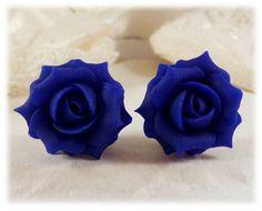 Blue Cobalt Rose Stud Earrings & Clip On Earrings