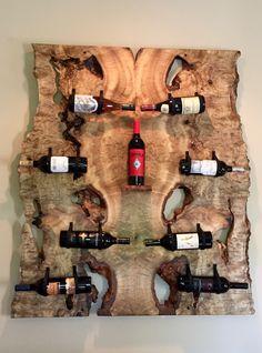Wine Rack, Myrtlewood, Leather -- Sold
