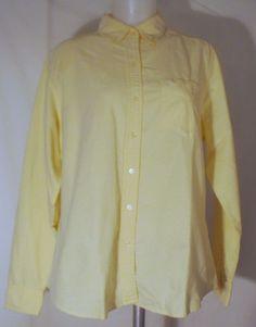 Eddie Bauer Pale Yellow Women's Button Down Blouse Size Large #EddieBauer #ButtonDownShirt