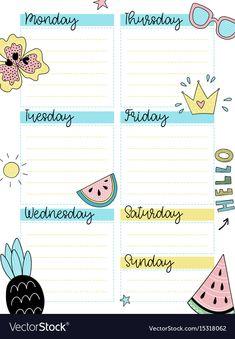 Weekly summer planner template vector image on VectorStock Summer Planner, To Do Planner, Kids Planner, Study Planner, Budget Planner, Planner Pages, Bullet Journal Lettering Ideas, Bullet Journal Writing, Bullet Journal Ideas Pages
