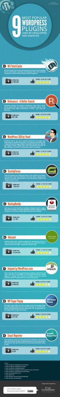 Most popular WordPress plugins used by Businesses, Developers and Agencies Infographic