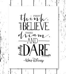 Inspirational Quote - Think, Believe, Dream, Dare - Walt Disney - Instant… Calligraphy Quotes Disney, Calligraphy Text, Hand Lettering Quotes, Typography, Calligraphy Handwriting, Creative Lettering, Positive Quotes, Motivational Quotes, Inspirational Quotes