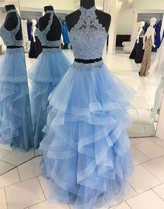 blue lace long prom dress, lace evening dress, formal dress
