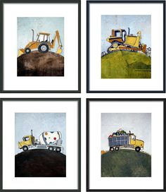 Any Four 8x10 Art Prints - Construction Truck Set - Ready to Frame - Great for Nursery or Kids Room. $70.00, via Etsy.