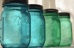 Items similar to Stained Mason Jars in Ocean Blue and Seafoam Green, Set of 4 on Etsy Beach Mason Jars, Green Mason Jars, Seashell Wedding, Nautical Wedding, Wedding Reception, Wedding Decor, Wedding Ideas, Wedding Bells, Wedding Colors