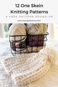 One skein knitting projects - Knit/Crochet Projects - One skein knitting projects Knit a last-minute gift if you are short on time with one of these free patterns. Each of these easy knitting patterns can be completed with only one skein of yarn. Beginner Knitting Projects, Sweater Knitting Patterns, Yarn Projects, Knitting For Beginners, Loom Knitting, Knitting Stitches, Free Knitting, Baby Knitting, Crochet Projects