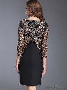 Chic O-Neck Long Sleeve Lace Embroidery Bodycon Dress - DressSure.com