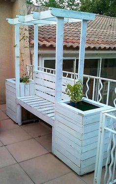 pallets wood arbor bench with attached planters