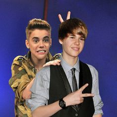 Justin Bieber and Justin Bieber | 13 Celebrities Posing With The Old Versions Of Themselves