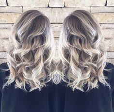 Ash blonde white balayage hair style ombré beach waves