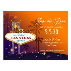 Fabulous Las Vegas Wedding Save the Date Postcard