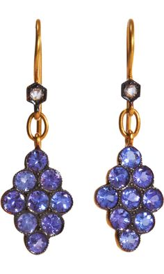 CATHY WATERMAN Tanzanite Scalloped Earrings, These 22k Yellow Gold scalloped drop Earrings feature Round cut Tanzanite stones in Oxidized, milgrained settings and a White Diamond top placed in a hexagonal bezel.  Wire back, 3,540 USD