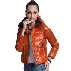 Women's Hooded Orange Down Jacket