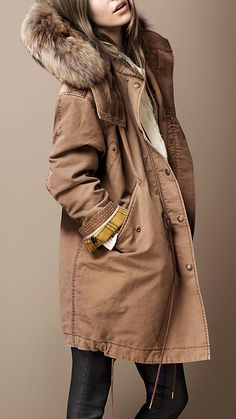 Burberry - FUR TRIM WARMER PARKA might buy this for myself as a treat in the fall