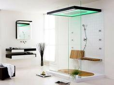 Badezimmer Design - Moderne Dusche mit grüner Beleuchtung