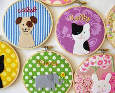 Children's room decor - personalized embroidery hoop kitty puppy bunny or elephant. $42.00, via Etsy.