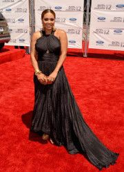 Tamia wears an all black gown on the 2012 BET Awards Red Carpet.
