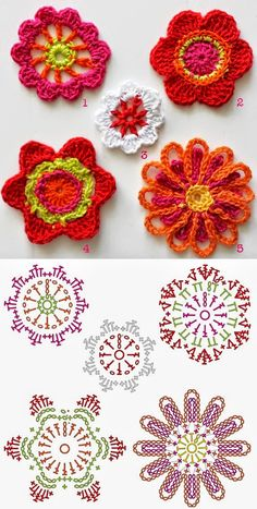 Patrones de Flores para decoración tejidas al crochet Knitting PatternsKnitting For KidsCrochet ProjectsCrochet Amigurumi Appliques Au Crochet, Crochet Motifs, Crochet Flower Patterns, Freeform Crochet, Crochet Diagram, Crochet Chart, Crochet Squares, Crochet Stitches, Knitting Patterns