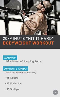 Elite CrossFit athlete Jason Khalipa has a surprisingly simple approach to fitness: Get after it, hit it hard, repeat. Check out his inspiring, actionable tips for getting in shape, along with the fast and effective bodyweight workout he swears by. #quick #workouts https://greatist.com/move/jason-khalipa-20-minute-bodyweight-workout