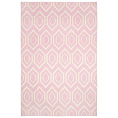 This versatile area rug reinvents traditional Indian dhurrie design with contemporary flair. Flat-woven with wool, the floor covering's ivory geometric motif lends graphic appeal to its light pink background. Made from 100% wool. Available in several sizes. Rug pad, regular vacuuming and professional cleaning recommended. 2.6ft W x 8ft H; 2.6ft W x 10ft H; 2.6ft W x 12ft H; 3ft W x 5ft H; 6ft W x 6ft H; 10ft W x 14ft H