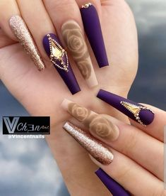 Here Comes The Coffin Nail art, Which Is Fashionable And Beautiful, Making Your Nails More Beautiful - Keep creating beauty and warm home, Find more happiness in daily life Bling Acrylic Nails, Best Acrylic Nails, Bling Nails, Gold Nails, Pastel Nails, Nail Swag, Cute Acrylic Nail Designs, Beautiful Nail Designs, Exotic Nail Designs