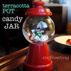 Terracotta pot candy jar
