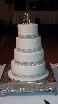 Blingy Wedding Cake Those darn little dragees took FOREVER!!!