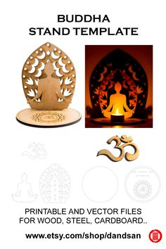 Home decoration Buddha stand and OM symbol vector template for print or cut in wood, steel, cardboard. Laser Art, Quirky Decor, Bird Silhouette, Paper Crafts, Diy Crafts, Diwali Decorations, Decorating Blogs, Wood Art, Om Symbol