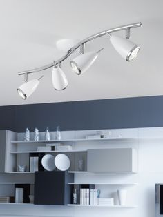 Voltage: Mains voltage Wattage: Lamp holder: C/w warm white LED lamps Construction: Steel Finish: Chrome / White Length: Depth: Contemporary Light Fixtures, Modern Lighting, Drum Shade, Wall Sconces, Accent Decor, Chrome, Ceiling Lights, Led, Spotlight