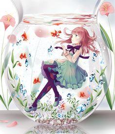 Under Water art Glass Bottle