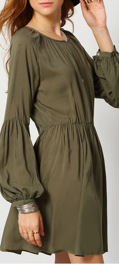 Very  sexy and cute dress . Even every small items ,shein's designer can devote whole heart to them. This Army Green V Neck Pleated Dress is designed into bubble sleeve and pretty pleated at front up. ,deep v neck and straight shape make a sexy cute look.