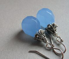 Dusk Blue Chalcedony Drop earrings by SueanneShirzay on Etsy, $38.00