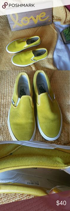 Suede yellow/mustard color slip on vans size 8 Worn one time. Slip on suede Vans in excellent condition. Vans Shoes