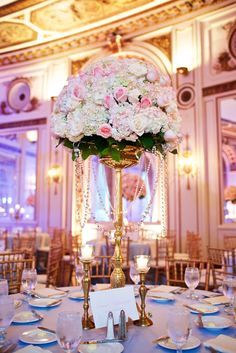Cinderella Themed Wedding. Cinderella Floral Arrangement. Cinderella Centerpiece. Colony Club Detroit.