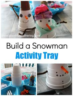 Create a simple winter themed activity by putting together this Build a Snowman Activity Tray with just a few simple items.