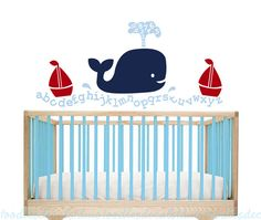 Whale Alphabet Vinyl Wall Decal  Playroom by ToodlesDecalStudio